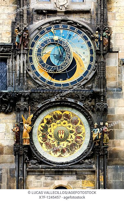 Astronomical Clock and Calendar in Old Town Councilhouse  Old Town Square Prague  Czech Republic
