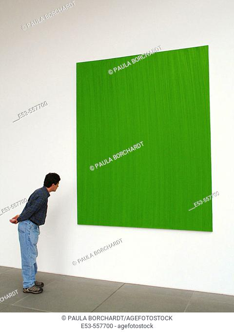 Man, early 40s, looking at green painting, Neues Museum, Nürnberg, Germany