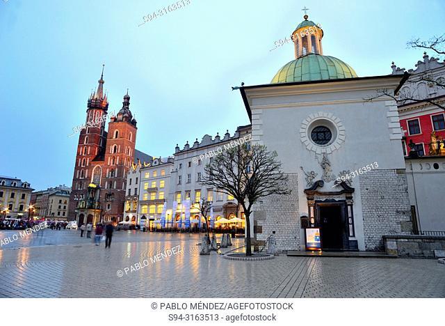 Market square or Rynek. Church of Saint Adalbert, Krakow, Poland