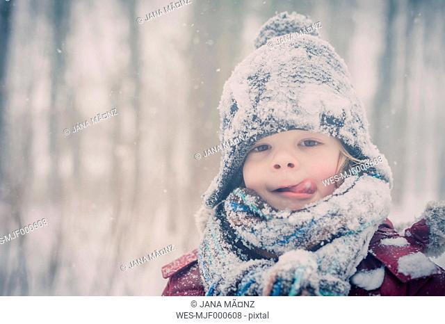 Boy in snow, portrait