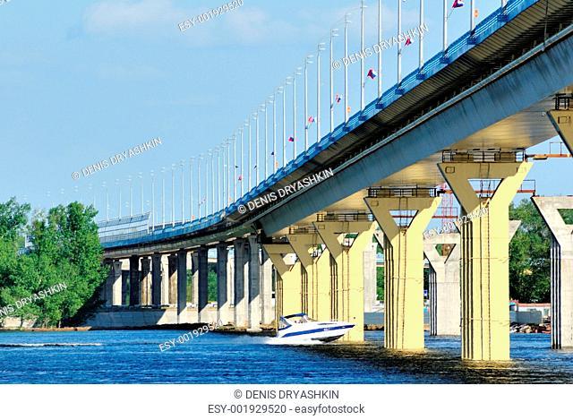 Bridge on the river Volga, Russia