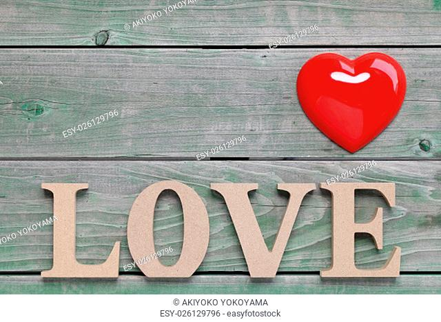 Word love made with wooden block wooden letters