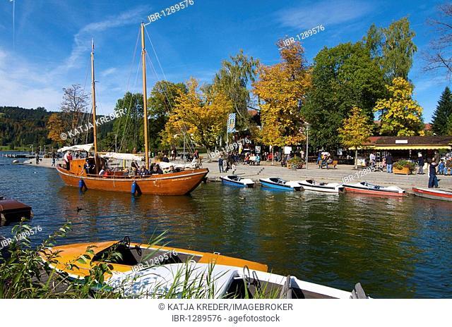 Historical sail freighter Santa Maria Loreto on the Grosser Alpsee lake in Buehl, Immenstadt, Allgaeu, Bavaria, Germany, Europe