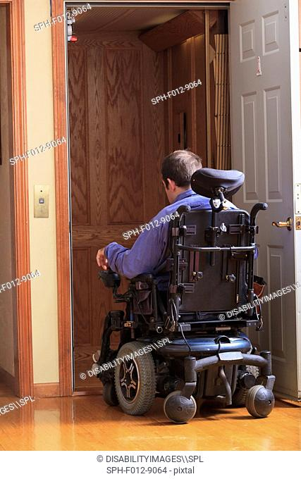 Man with Cerebral Palsy entering a home elevator