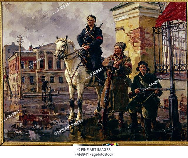 The first days of October. Savitsky, Georgi Konstantinovich (1887-1949). Oil on canvas. Soviet Art. 1949. State Museum of Revolution, Moscow. Painting