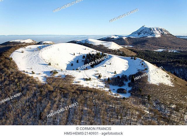 France, Puy de Dome, Ceyssat, Chaine des Puys, Regional Natural Park of the Auvergne Volcanoes, Puy de Come volcano and Puy de Dome in the background (aerial...