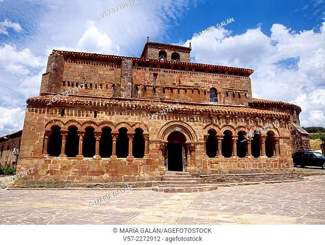 Facade of Romanesque church. Pineda de la Sierra, Burgos province, Castilla Leon, Spain
