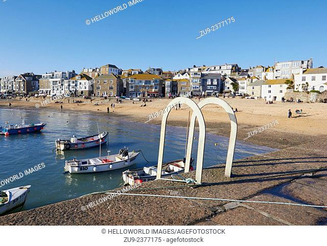 Beach and harbour scene, St Ives, Cornwall, England, Europe