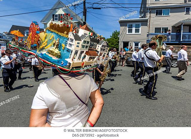 USA, Massachusetts, Cape Ann, Gloucester, St. Peter's Fiesta, Italian-Portuguese fishing community festival, religious procession, Gloucester Hat Sisters