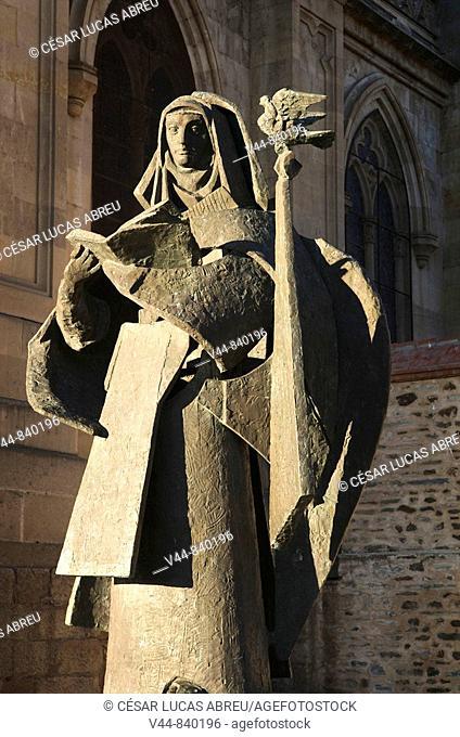 Statue of Saint Teresa of Jesus by sculptor Venancio Blanco Martin in the unfinished basilica of Santa Teresa, Alba de Tormes