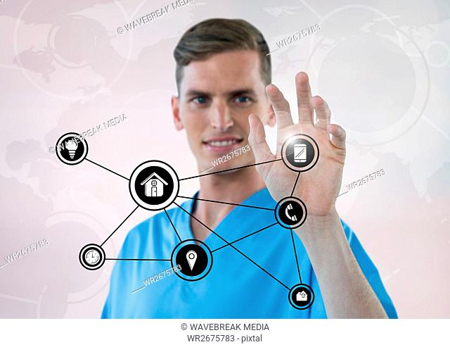 Doctor touching digitally generated application icons