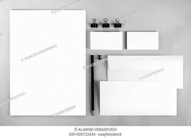 Blank branding identity set on gray background. Corporate identity template. For design presentations and portfolios. Top view