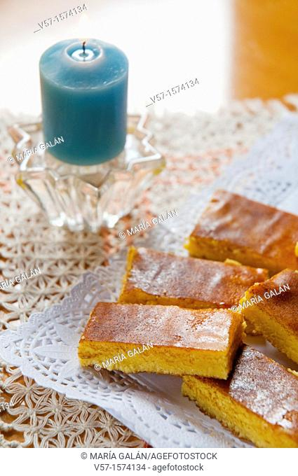 Egg marzipan: typical Spanish turron made of yolk, almond, sugar and honey. Spain