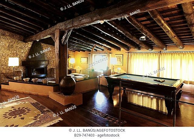 Living room, Mas Salvi hotel. Girona province, Catalonia, Spain