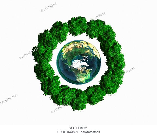 3D earth with trees