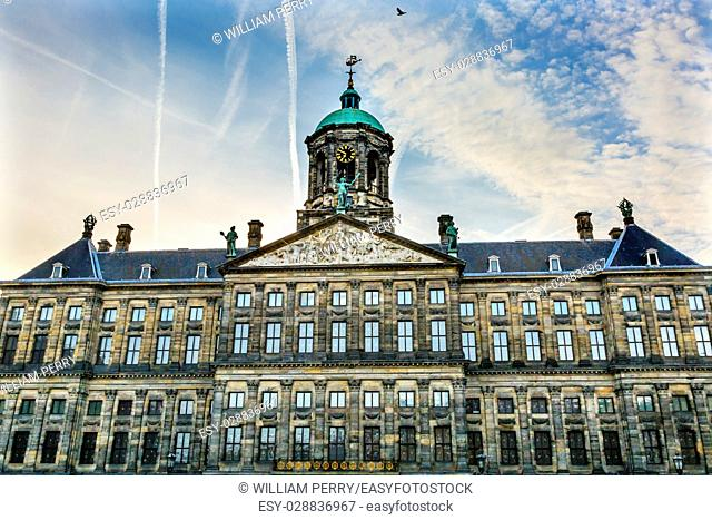 Royal Palace Town Hall Amsterdam Holland Netherlands. Opened up as a town hall in 1655. The Ship Weather Vane is a symbol of Amsterdam