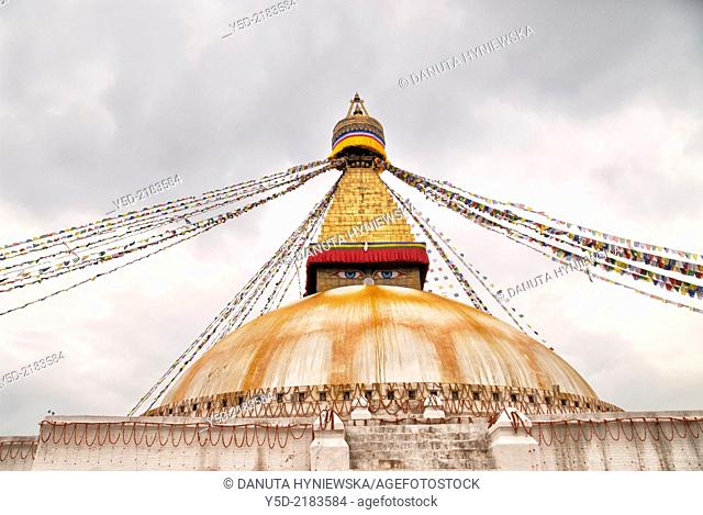 Great stupa, Boudhanath also called Boudha, Bouddhanath or Baudhanath, Kathmandu, Nepal