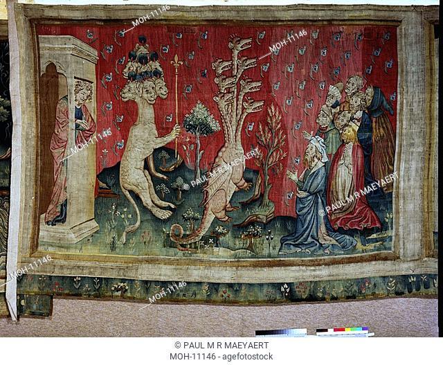 La Tenture de l'Apocalypse d'Angers, L'adoration du Dragon 1,56 x 2,35m, Anbetung des Drachen
