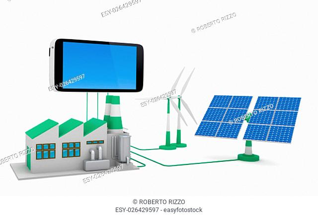 Ecofriendly concept. .Green factory, wind turbine and solar panel connected to smartphone isolated on white background