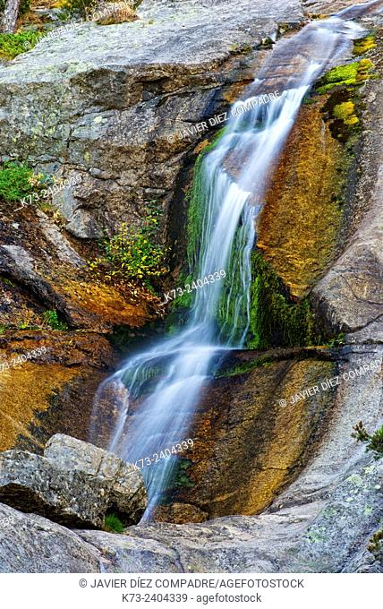 Waterfall. Navafria. Segovia Province. Castilla y Leon. Spain