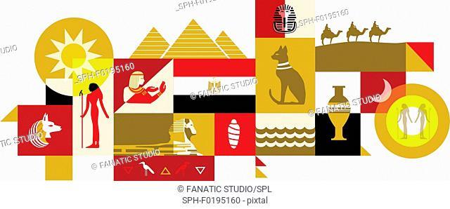 Illustration of Egypt over white background