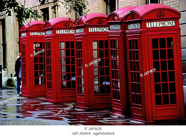 Red phone boxes, Covent Garden, London. U.K