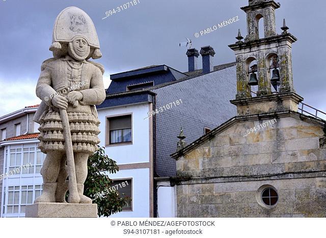 Church and sculpture of a Felo in Maceda, Orense, Spain
