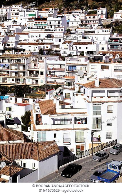 Pictorescque view of the white village  Pueblos Blancos  - Mijas Pueblo, Costa del Sol, Malaga province, Andalusia, Spain