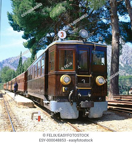 Historical train. Soller. Majorca. Balearic Islands. Spain