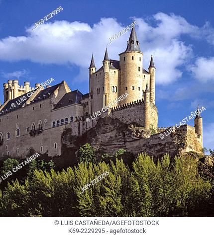 The Alcazar of Segovia) is a stone fortification, located in the old city of Segovia, Spain. Rising out on a rocky crag above the confluence of the rivers...