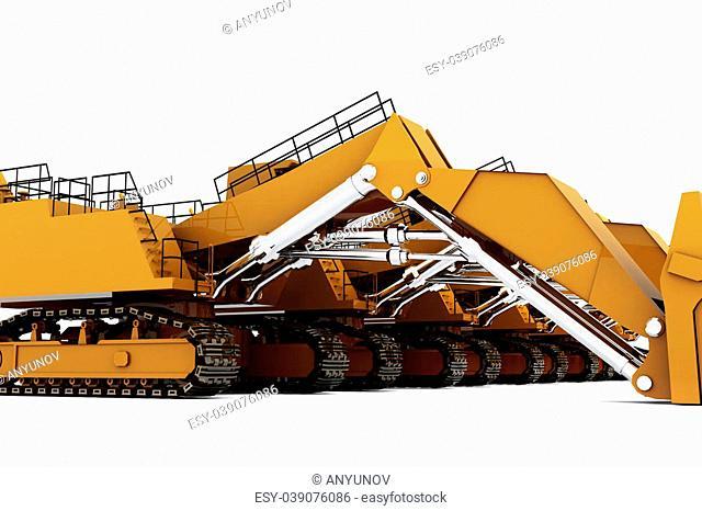 Group of Orange diggers isolated on white background