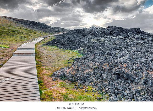 Lava desert in the famous Krafla mountains, a still active volcanic area near Myvatn, Iceland, HDR