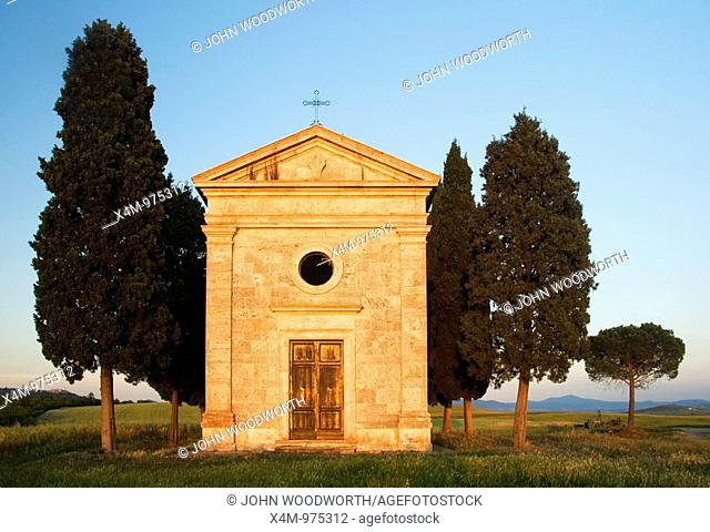 Vitaleta chapel between Pienza and San Quirico in the Valley d'Orcia Tuscany Italy