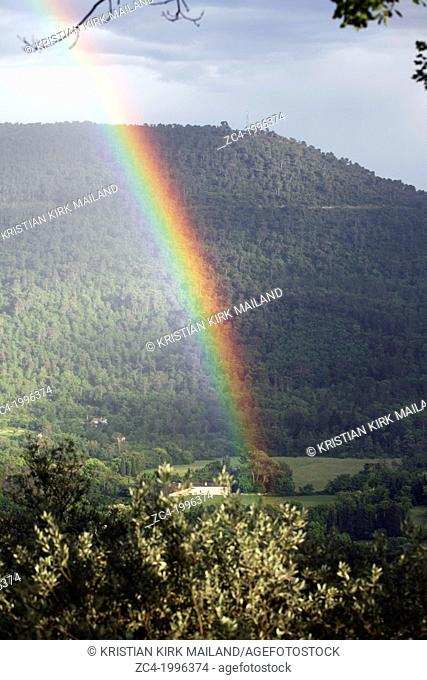 Beautiful rainbow in the Alps. Provence. France
