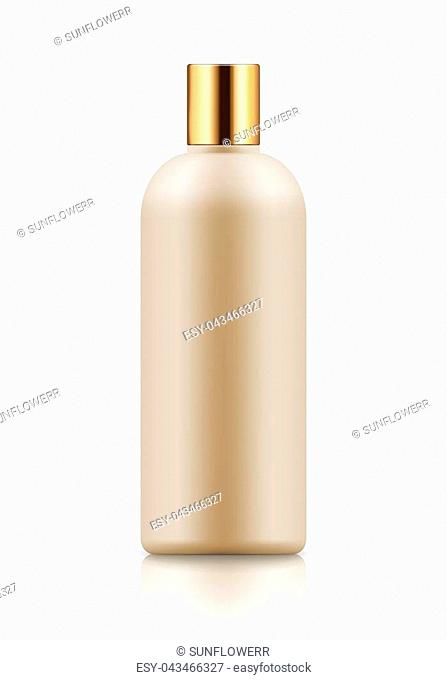 Empty and clean white bottle with cap for shampoo. Realistic 3d blank template plastic container for wash shower gel. Mock-up of package for cosmetic product