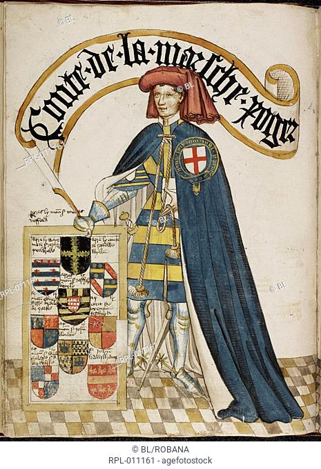 Earl of March in Garter robes, Whole folio Portrait of Roger Mortimer, Earl of March, a Knight Founder of the Order of the Garter