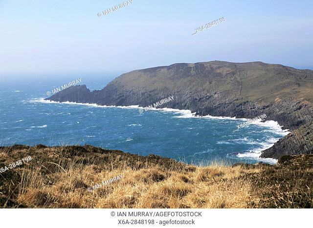 Atlantic waves rocky headland, South Harbour, Cape Clear Island, County Cork, Ireland, Irish Republic