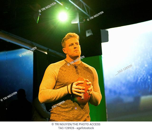 JJ Watt at the Verizon Experience in the 2016 Super Bowl City in San Francisco