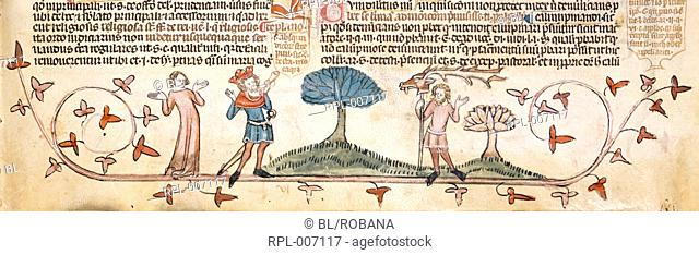 Princes celebrate their hunt Detail Lower margin. Princes and a woman celebrating a successful hunt. One prince blows a horn