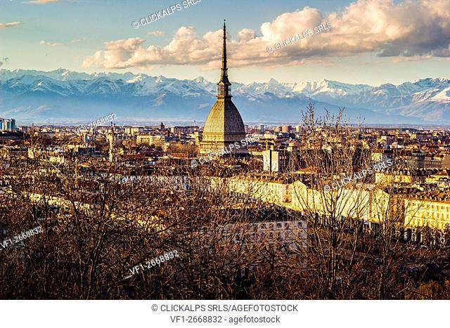 Turin, Piemonte, Italy. cityscape from Monte dei Cappuccini