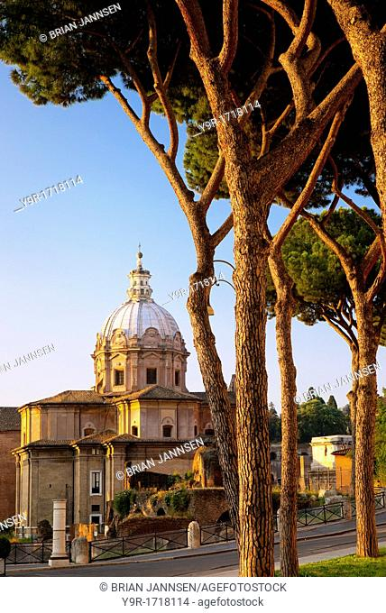 Early morning at the Church of Santi Luca e Martina adjacent to the ruins of the Roman Forum, Rome Lazio Italy