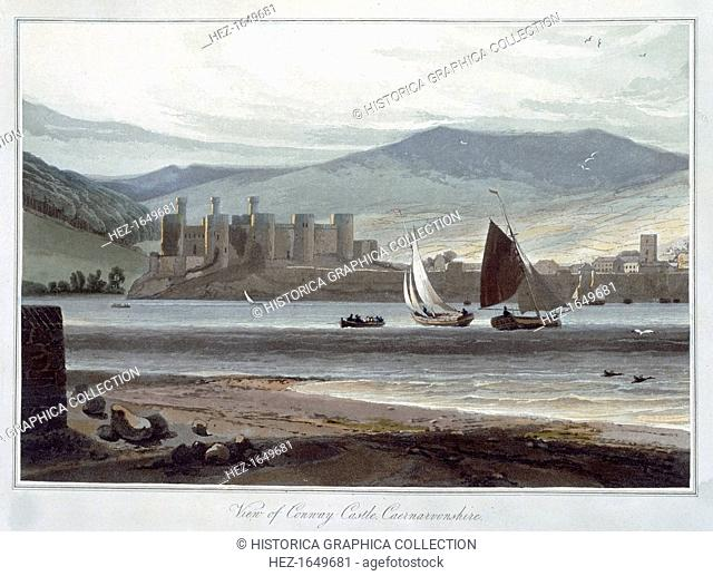 'View of Conway Castle, Caernarvonshire', Wales, 1814-1825. Built in the 1280s, Conwy Castle is one of the ring of fortresses surrounding Snowdonia built by...