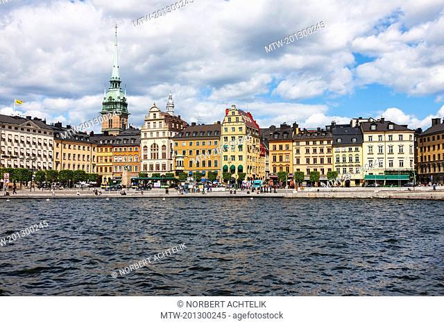Stockholm Cathedral at waterfront, Munkbroleden, Gamla Stan, Stockholm, Sweden