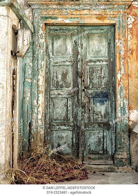 Greece, Patmos, Chora, Old wooden door