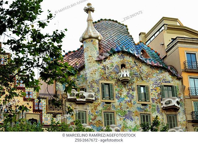 Casa Batlló. Passeig de Gràcia, Barcelona, Catalonia, Spain, Europe