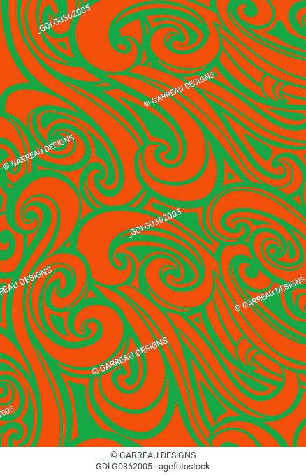Orange and green wavy design