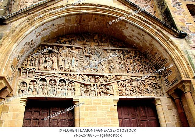 Aveyron, Midi-Pyrenees, Conques, tympanum of the abbey-church with Soulages stained-glass windows