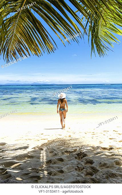 A beautiful young woman strolling along the tropical beach. La Digue, Seychelles, Africa