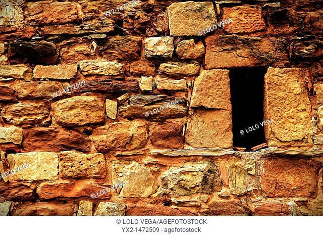 Old convent wall, Muntanyola, Osona, Barcelona province, Catalonia, Spain