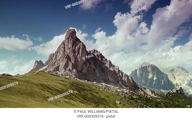 Timelapse of clouds over the Nuvolau mountain at sunrise above the Giau Pass (Passo di Giau), Dolomites, Italy
